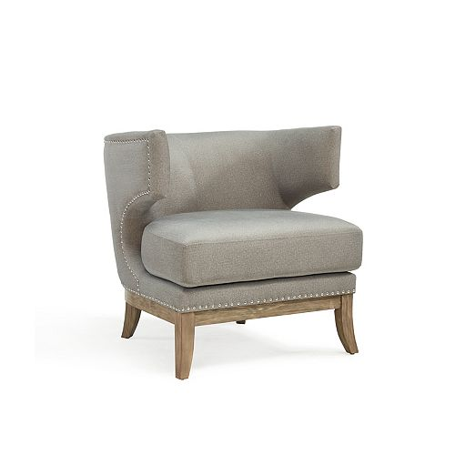 Wynn Wingback Accent Chair in Grey with Solid Pattern