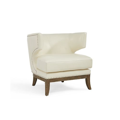 Wynn Club Accent Chair in Beige with Solid Pattern