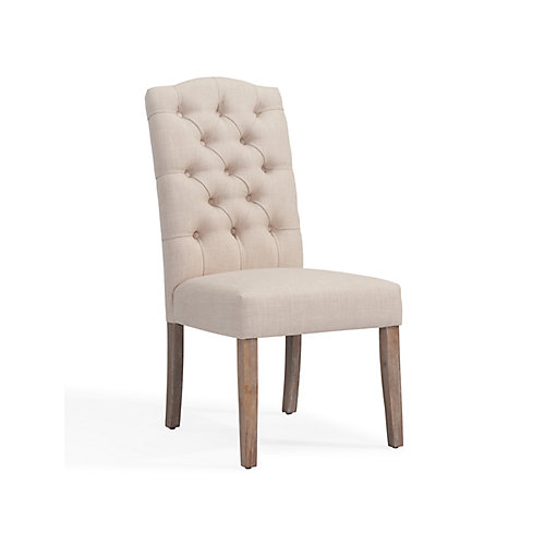 Lucian Wood Grey Parson Armless Dining Chair with Beige Linen Seat - (Set of 2)