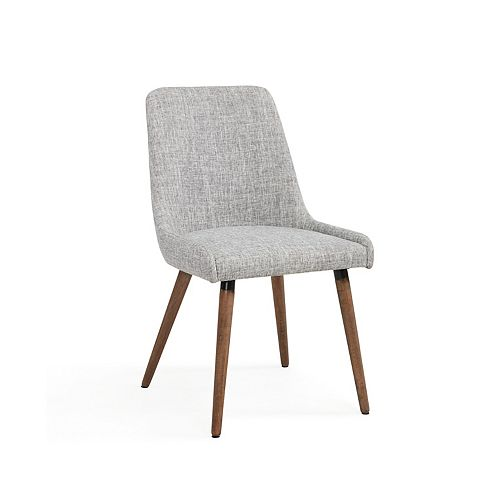 Mia Wood Grey Parson Armless Dining Chair with Grey Linen Seat - (Set of 2)