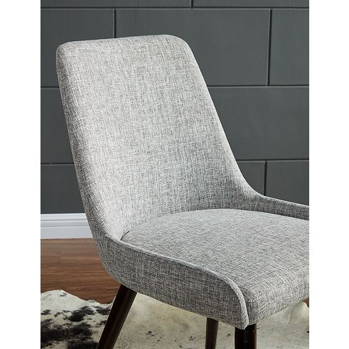 Mia Wood Walnut Parson Armless Dining Chair with Grey Linen Seat - (Set of 2)