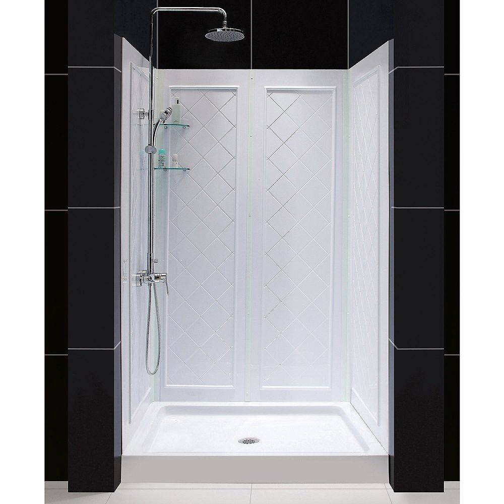 DreamLine QWALL-5 36-inch x 48-inch x 76-3/4-inch Standard Fit Shower Kit in White with Shower Base and Back Wall