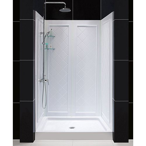 QWALL-5 36-inch x 48-inch x 76-3/4-inch Standard Fit Shower Kit in White with Shower Base and Back Wall