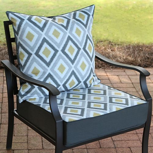 Hampton Bay 24 inch W x 24 inch D x 20 inch H Patio Deep Seating Set in Dance Hall Ikat - (2-Piece)