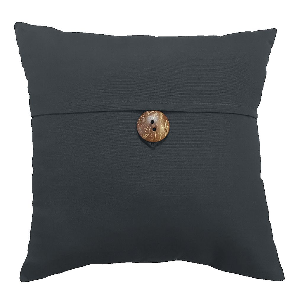 Suntastic 17-inch Patio Pillow with Button in SunValley Graphite