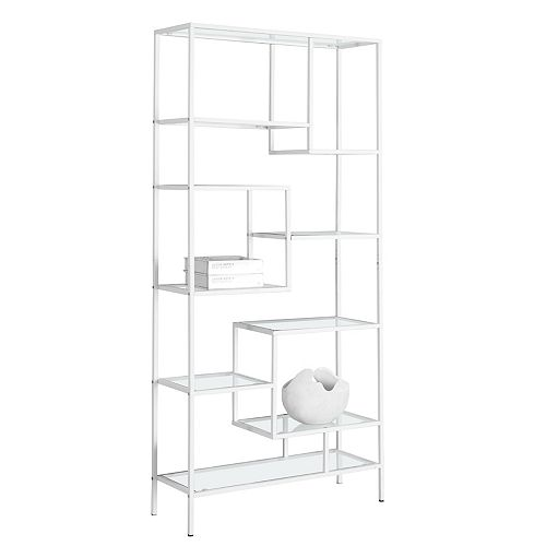 Monarch Specialties 32-inch x 72-inch x 12-inch Glass  Metal Cubed Bookcase in White