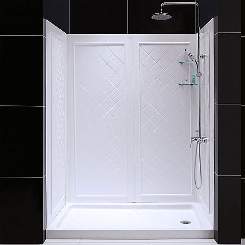 SlimLine 30-inch x 60-inch Single Threshold Shower Base in White Right Hand Drain Base with Back Walls