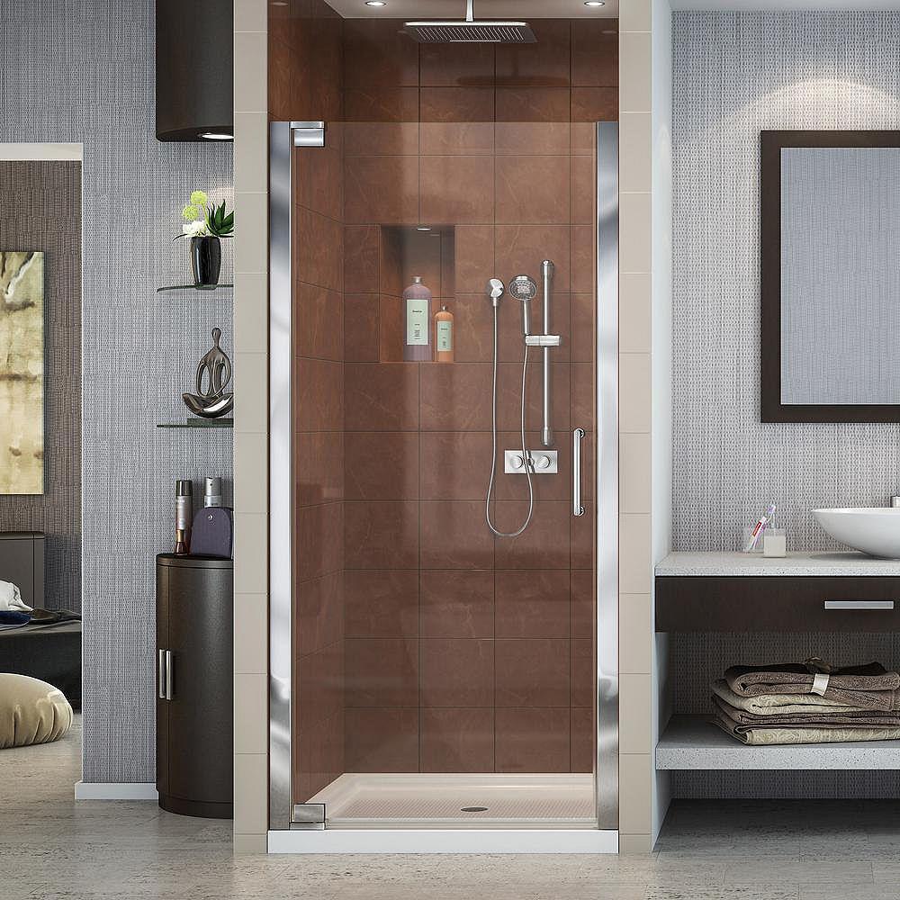 DreamLine Elegance 32-inch x 32-inch x 74.75-inch Semi-Frameless Pivot Shower Door in Chrome with Center Drain White Acrylic Base