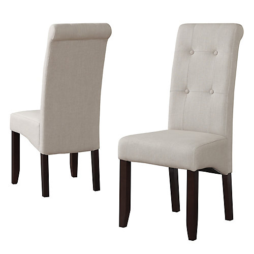 Cosmopolitan Solid Wood Brown Parson Armless Dining Chair with Beige Polyester Seat (Set of 2)