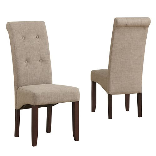 Cosmopolitan Solid Wood Brown Parson Armless Dining Chair with Brown Polyester Seat - (Set of 2)