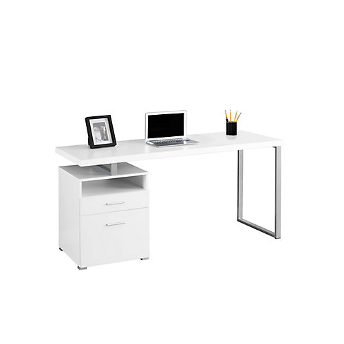 Bureau d'ordinateur standard, 60po x 30po x 24po, blanc