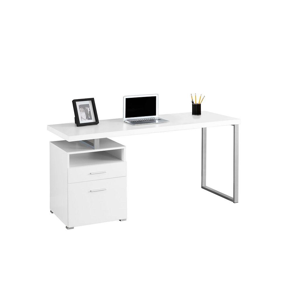 Monarch Specialties 60-inch x 30-inch x 24-inch Standard Computer Desk in White