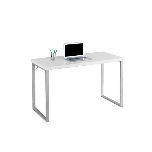 48-inch Computer Desk in White & Silver