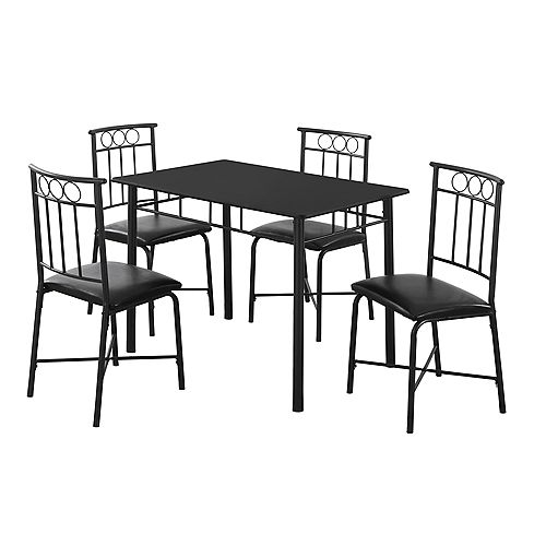 Dining Set - 5-Piece Set / Black Metal And Top