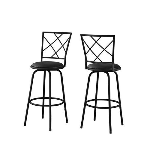 Barstool (Set of 2) / Swivel / Black Metal /Black Leather-Look Seat