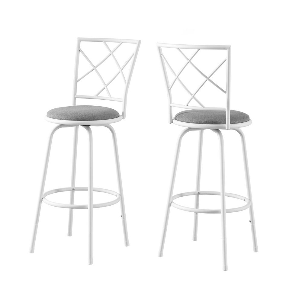 Monarch Specialties Barstool (Set of 2) / Swivel / White Metal / Grey Fabric Seat