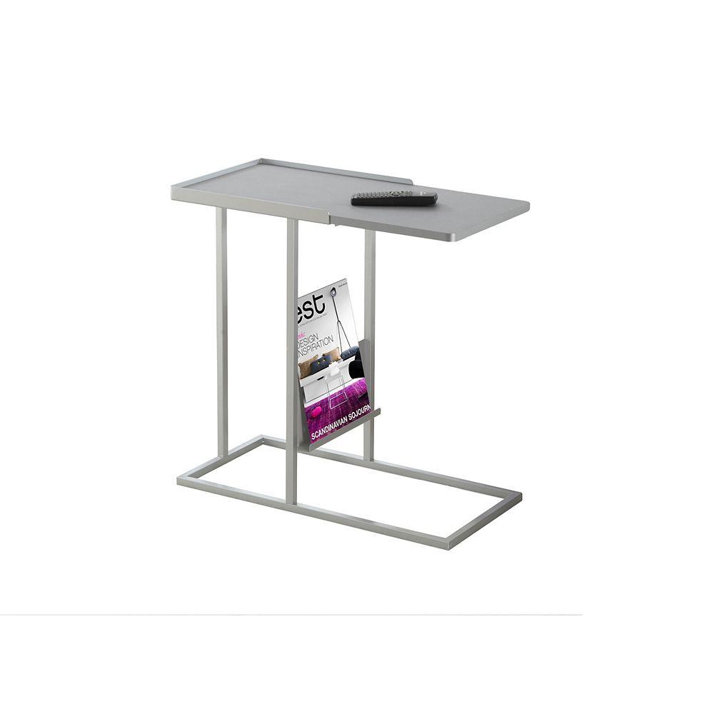 Monarch Specialties Table D'Appoint - Gris - Metal Argent Et Support Magazine
