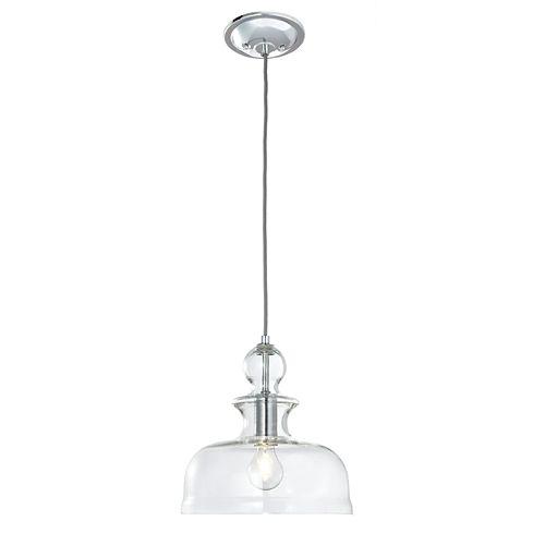 Luminaire suspendu Desinata, chrome poli, une ampoule, diffuseur vasque en verre clair