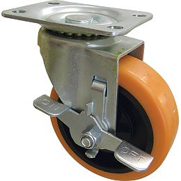 3-inch Orange TPU Swivel Caster with 225 lbs. Load Rating and Brake
