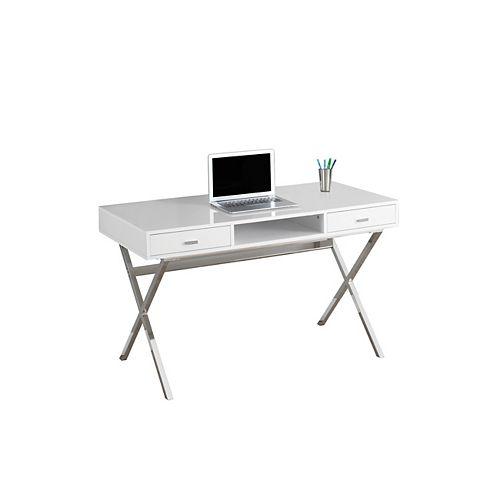 Bureau d'ordinateur standard, 47po x 29po x 24po, blanc