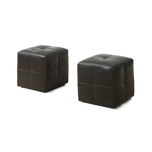 Ottoman - 2-Piece Set / Juvenile / Dark Brown Leather-Look
