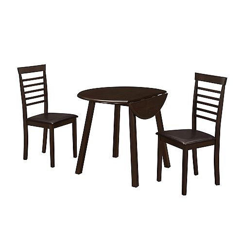 Dining Set - 3-Pieces Set / Cappuccino 36 Inch Dia Drop Leaf Table