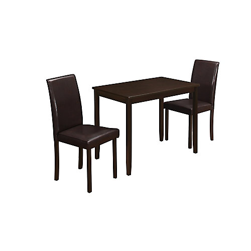 Dining Set - 3-Pieces Set / Cappuccino / Brown Parson Chairs
