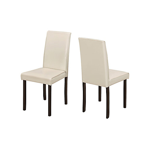 Solid Wood Brown Parsons Armless Dining Chairs wth Ivory Faux Leather Seats (Set of 2)