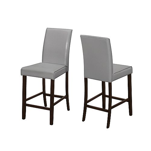 Monarch Specialties Brown Parson Armless Bar Stool with Grey Faux Leather Seat (Set of 2)