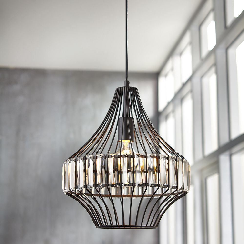 Home Decorators Collection Pairisio 1-Light Black Pendant with Metal Cage Shade and Crystal Accents