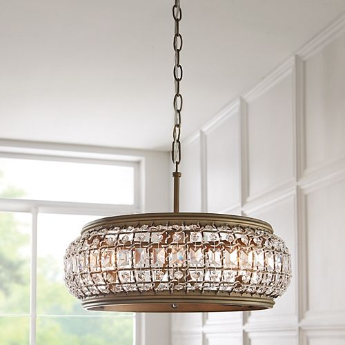 Luminaire suspendu Goldbach pour îlot de cuisine, laiton, 4ampoules, diffuseur ornementé de cristal