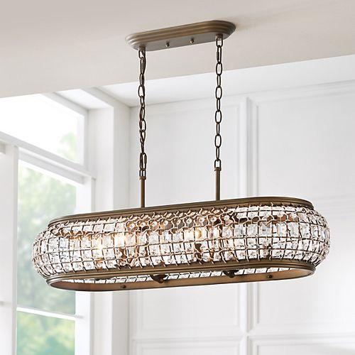 Luminaire suspendu Goldbach pour îlot de cuisine, laiton, 6ampoules, diffuseur ornementé de cristal