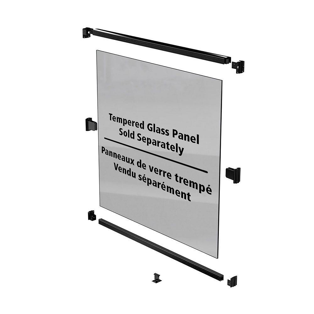 Peak Products Trousse de rampe de clôture pour piscine AquatinePLUS en aluminium pour panneaux de verre - noir - 44 po