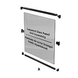 Trousse de rampe de clôture pour piscine AquatinePLUS en aluminium pour panneaux de verre - noir - 44 po