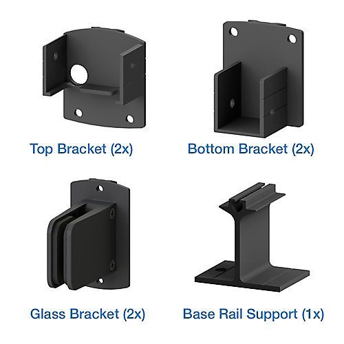 AquatinePLUS Pool Fence Glass Bracket Kit - Black