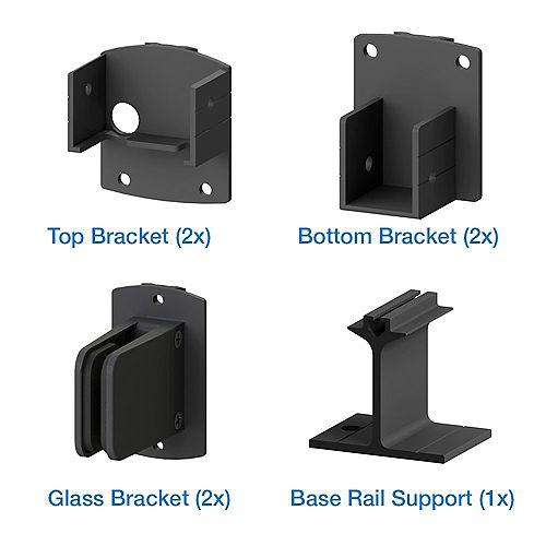 AquatinePLUS Aluminum Pool Fence Glass Bracket Kit in Black