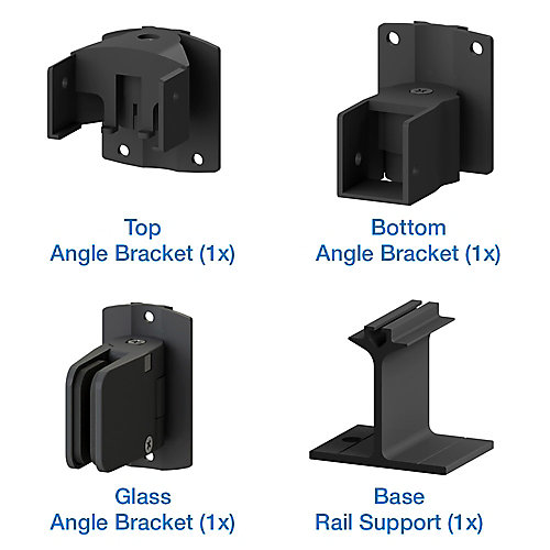 AquatinePLUS Pool Fence Glass Angle Bracket Kit - Black