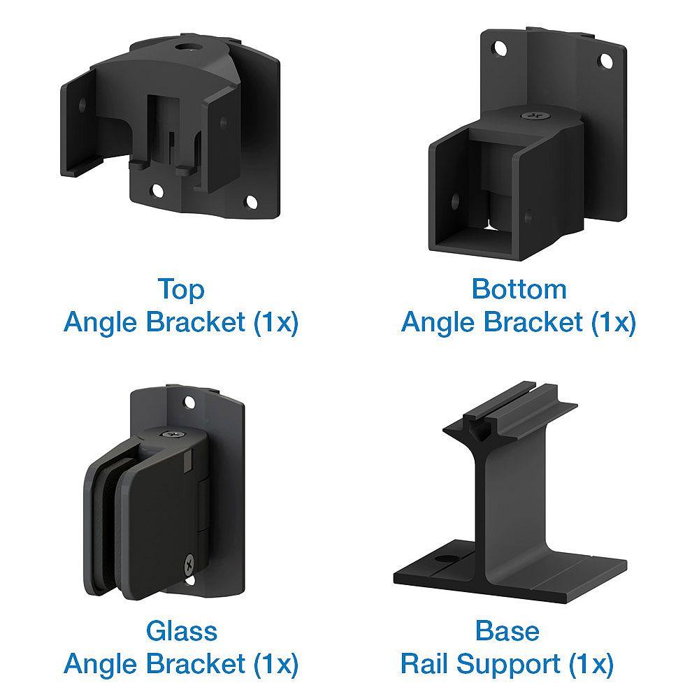 Peak Products Trousse de support d'angle de panneaux de verre pour clôture pour pisicine AquatinePLUS en aluminium - noir