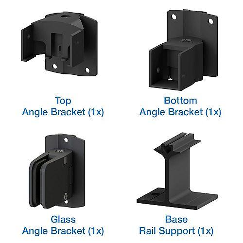 Peak Products AquatinePLUS Aluminum Pool Fence Glass Angle Bracket Kit in Black