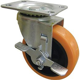 4-inch Orange TPU Swivel Caster with 300 lbs. Load Rating and Brake