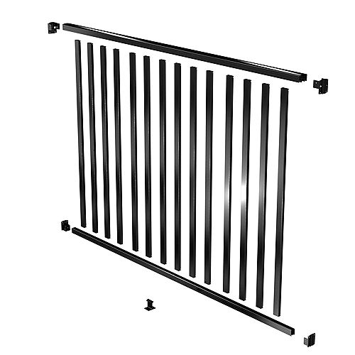 AquatinePLUS 6 ft. W x 4 ft. H Aluminum Pool Fence Rail and Picket Kit in Black