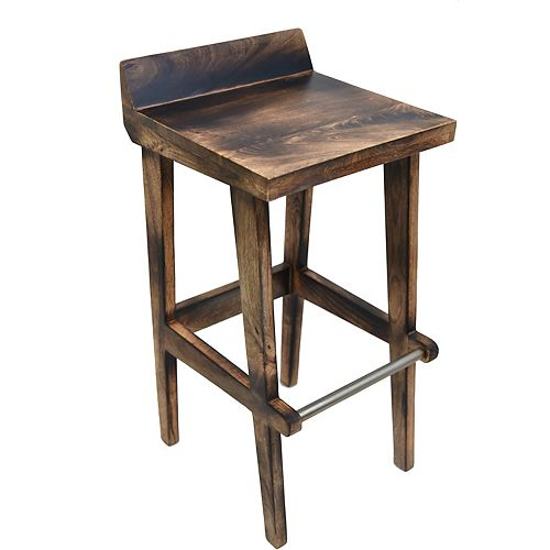 Ace Solid Wood Natural Parson Armless Bar Stool with Natural Solid Wood Seat