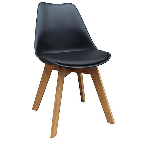 Chaise Parson sans accoudoirs Novita, bois massif gris, siège cuir noir