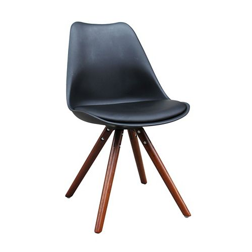 Klein Solid Wood Brown Parson Armless Dining Chair with Black Leather Seat