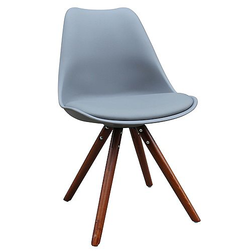 Klein Solid Wood Grey Parson Armless Dining Chair with Grey Fabric Seat