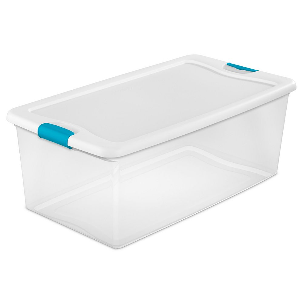 Sterilite 100 L Clear Storage Tote with Latching Lid in White