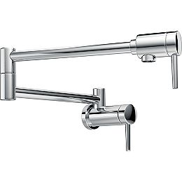 Contemporary Wall Mount Pot Filler Faucet with Lever Handle in Chrome