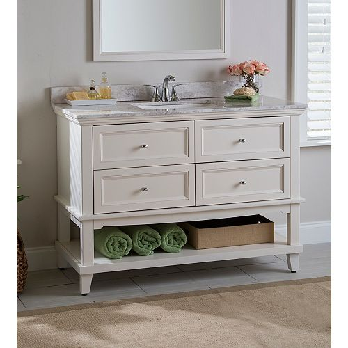 Teasian 49-inch W x 22-inch D x 34.75-inch H Vanity in Cream with Stone Effects Top in Winter Mist