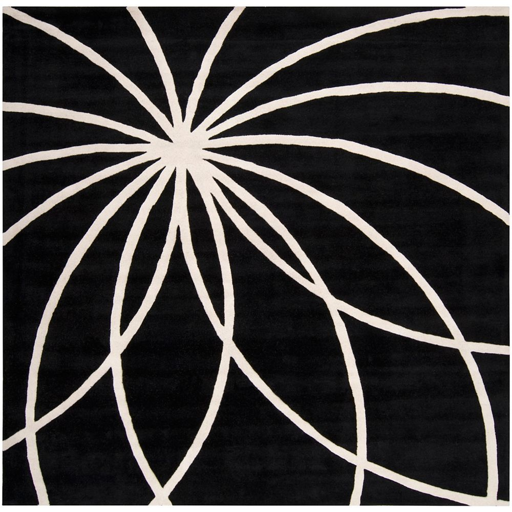 Artistic Weavers Oakura Black 4 Feet x 4 Feet Square Indoor Area Rug