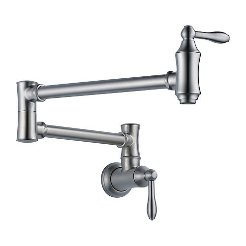 Traditional Wall Mount Pot Filler Faucet in Arctic Stainless